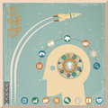 Retro Flat Design Businessman Head Thought Idea Generation Gear Wheel Icons Space Background Vector Illustration Royalty Free Stock Photo