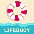 Retro flat lifebuoy icon concept. vector