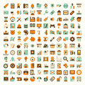 Retro flat network icon set cartoon vector illustration Royalty Free Stock Photography