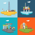 Retro Flat Oil Icons and Symbols Concept Set Royalty Free Stock Photo