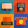 Retro flat technology illustration set of illustrations implemented in style Royalty Free Stock Photo
