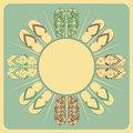 Retro flipflop border background flipflops and circluar in cream brown and green Royalty Free Stock Image