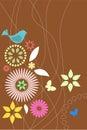 Retro flora en faunabehang Stock Afbeeldingen