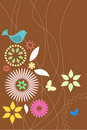 Retro flora and fauna wallpaper Stock Images