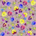 Retro floral background. Pansies. Stock Photo
