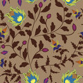 Retro floral seamless pattern on beige background Stock Photos
