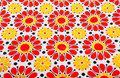 Retro floral textile summer with red and yellow flowers Stock Photos