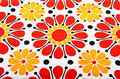 Retro floral textile summer with red and yellow flowers Royalty Free Stock Photo