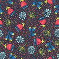 Retro florals seamless vector background. 1960s, 1970s flower design. Red, blue, and yellow doodle flowers on a textured Royalty Free Stock Photo