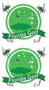 Retro florida golf badge with state outline and golfballs indicating popular courses Stock Photography