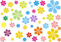 Retro flower hippies experience the atmosphere that comes from kids flowers designer wallpaper Stock Image