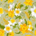 Retro flower seamless pattern daffodils vector Royalty Free Stock Image