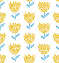 Retro flower seamless pattern, scandinavian style. Pastel yellow and blue colors. Nature texture. Royalty Free Stock Photo