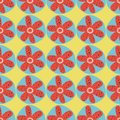 Retro flowers seamless vector background. 1960s, 1970s floral design. Red and blue doodle flowers on a yellow background. Royalty Free Stock Photo
