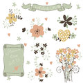 Retro flowers in vector cute floral bouquets vintage set Royalty Free Stock Photos
