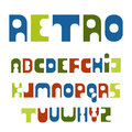 Retro font colorful letters style of the 70s