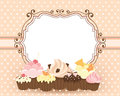Retro frame with cupcakes old fashioned card cute and for your text Stock Image
