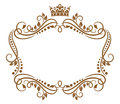 Retro frame with royal crown and flowers for wedding or heraldry design Royalty Free Stock Photos