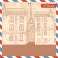 Retro France postcard on air mail frame background Royalty Free Stock Photo
