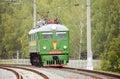 Retro freight diesel locomotive. Royalty Free Stock Photo