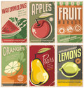 Retro fruit poster designs. Royalty Free Stock Photo