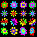 Retro funky flower collection