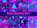 Retro futurism seamless pattern set. Geometric elements memphis in the style of 80`s. Synthwave retro background. Retrowave Royalty Free Stock Photo
