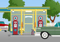 Retro gas station Stock Image