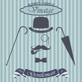 Retro gentleman elements set bowler moustache tobacco pipe monocle cane and umbrella on hipster background vintage sign des design Royalty Free Stock Photos