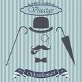 Retro gentleman elements set - bowler, moustache, tobacco pipe monocle, cane and umbrella, on hipster background. Vintage sign des