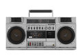 Retro ghetto blaster isolated on white with clipping path Royalty Free Stock Photo