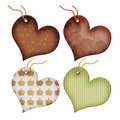 Retro Gift tags in the form of heart. Royalty Free Stock Photo