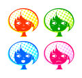 Retro girl emotions colorful face with basic Royalty Free Stock Photo