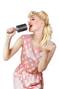 Retro girl singer pin up isolated over white Royalty Free Stock Image