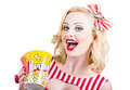 Retro girl taking popcorn to cinema isolated portrait of a pin up holding ticket and Stock Photos