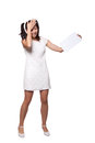 Retro girl in a white dress woman holding blank piece of paper holding her head isolated on background Stock Photo