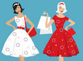 Retro girls shopping Stock Photo