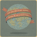 Retro globe symbol with ribbon Royalty Free Stock Photography