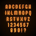 Retro glowing font with yellow lamps eps 10
