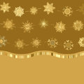 Retro gold Card Template with Snowflakes. EPS 8 Stock Photo