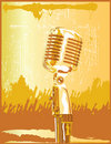 Retro Gold Microphone Stock Image