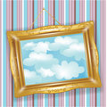 Retro golden frame with clouds Stock Image
