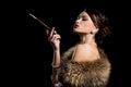 Retro. Gorgeous girl with cigarette Royalty Free Stock Photo
