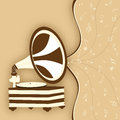 Retro gramophone with musical notes on stylish beige background Stock Photography