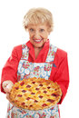 Retro granny with homemade pie sweet style grandmother holding a delicious home baked cherry lattice top crust isolated on white Stock Photo
