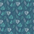 Retro green leaves on branches on dark background seamless pattern