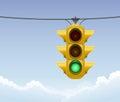 Retro green traffic light