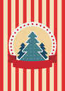Retro greeting card with christmas tree colored illustration eps rgb illustration can be used as template for events Stock Photo