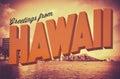 Retro Greetings From Hawaii Postcard Royalty Free Stock Photo