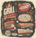 Retro grill menu design template